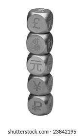 Metal dice with the currency symbols of Europe, England, United States, Russia, Japan, and China stacked and isolated on white.