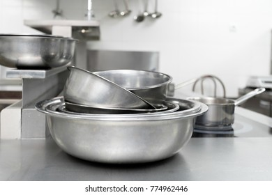 Metal dishes in a restaurant kitchen