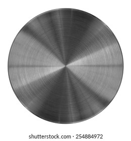 Metal disk texture isolated on white. This round metal part may be used for a graphic art, as a texture or illustration element.
