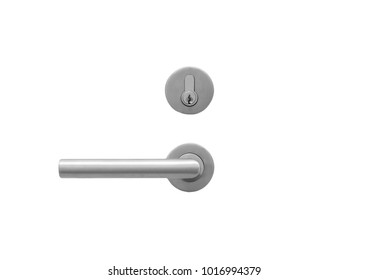 Metal door handle lock  isolated on white