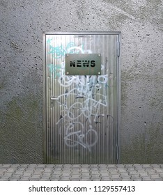 Metal door with old, scratched sign with the text News. 3d rendering