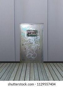 Metal door with old sign and the text News. 3d rendering