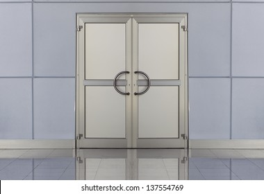 metal doors in an office