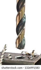 Metal drilling closeup in metal workshop