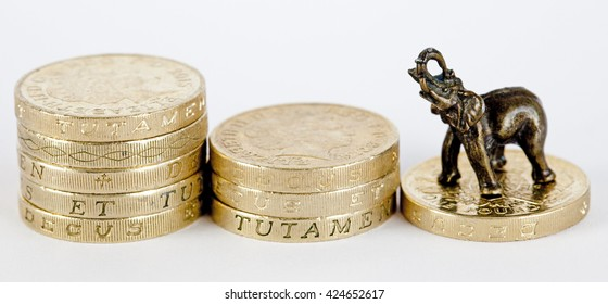 Metal elephant with one pound coins on white background