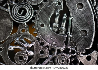 Metal engine Technology background, silver metallic with gears inside.