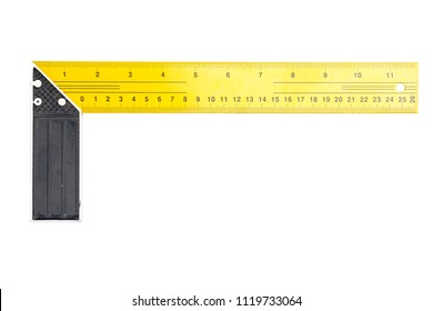 Metal Engineer corner ruler isolated on white background with clipping path.
