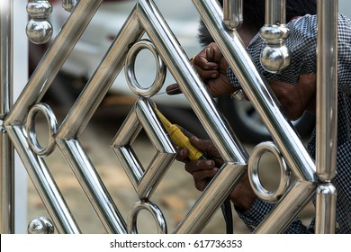 Metal Fashion Fence Stainless Steel Gate Stock Photo (100% Legal ...