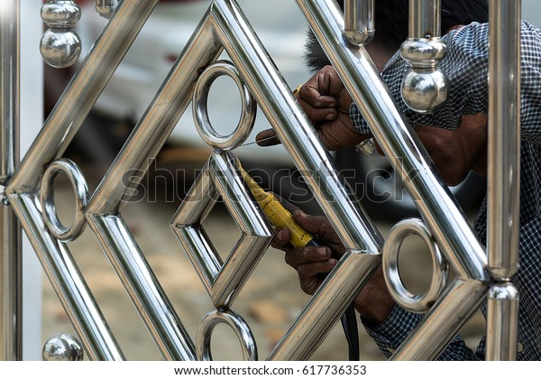 Metal Fashion Fence Stainless Steel Gate Stock Photo (Edit ...