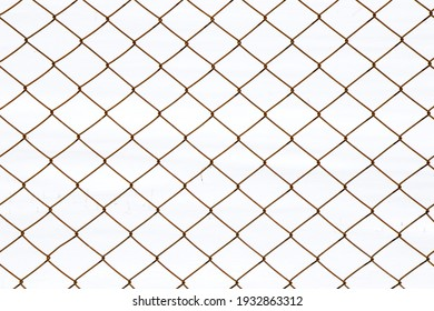 Metal fence background, real fence close-up and texture on the white sky background