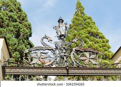 Metal fence of Botanical Garden closeup in Banska Stiavnica, Slovakia