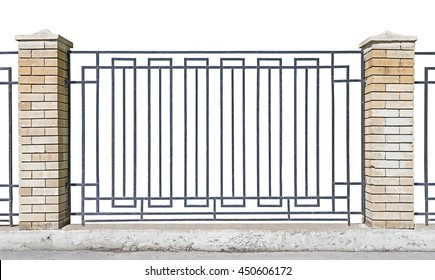 metal fence with brick pillars, White background