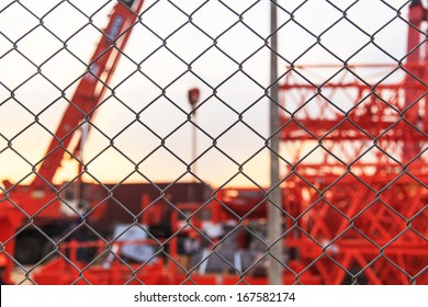 Metal fence at construction site