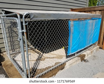 metal fence dog kennel or cage or shelter with tarp