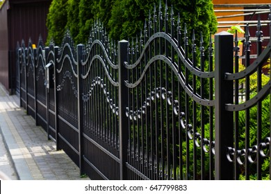 Metal Fence. Modern iron wall.