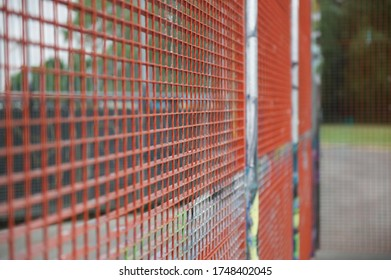Metal fence in the park, background texture