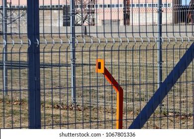 Metal Fence perimeter. Gate Barrier System RFID Reader