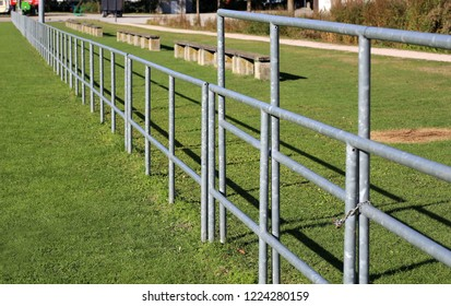 Metal fence. Metal fence at the stadium.