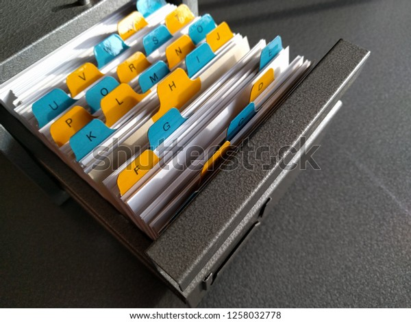 metal file box with alphabet dividers