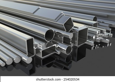 Metal fittings on warehouse. 3d illustration