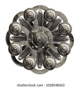 Metal flower. Abstraction. Silver snowflake
