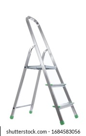 Metal folding ladder isolated on a white background. gray, silver metallic Step ladder isolated against gray background
