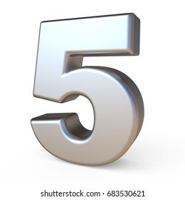 Metal font NUMBER FIVE 5 3D render illustration isolated on white background