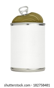 Metal food can or tin with a blank label and an easy open pull tab top with the lid partially open.