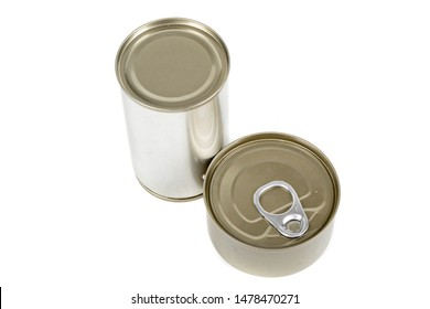 Metal food tins isolated on a white background