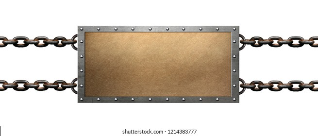 Metal frame with chains on white background
