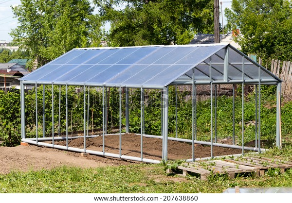 Metal Frame Made Polycarbonate Greenhouses Gable Stock Photo