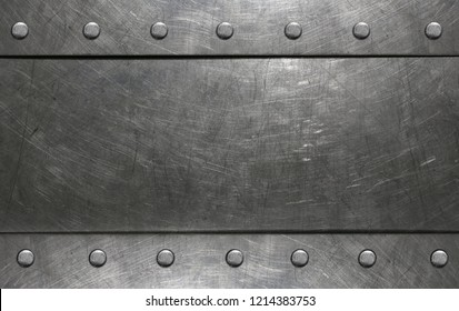 Metal frame with rivets