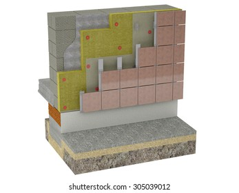 A metal frame with vertical bases is fixed on the insulated wall using brackets.