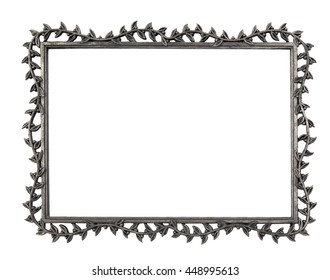 Metal Frame with Vine Leaf Motif over White - Five by Seven Inch Proportion