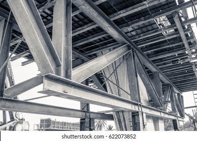 metal frame work at construction site of expressway bridge road base structure