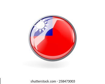 Metal framed round icon with flag of republic of china