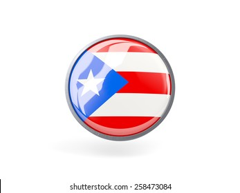 Metal framed round icon with flag of puerto rico