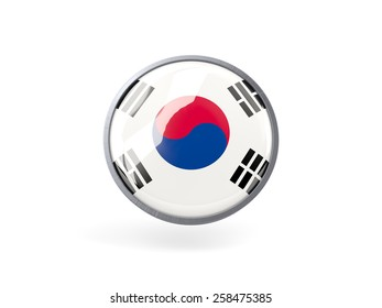 Metal framed round icon with flag of south korea