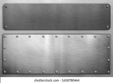 Metal frames background, polished steel plates