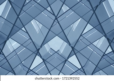 Metal framework. Reworked photo of structural glazing. Glass wall or ceiling structure. Abstract photo of modern architecture fragment with geometric pattern of polygons and triangles.