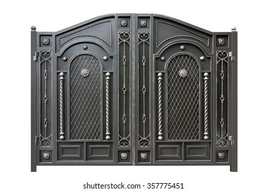 Metal  gate  with ornament.  Isolated over white background.
