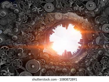 Metal gear mechanism. Mixed media