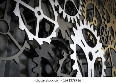 Metal gears background teamwork concept