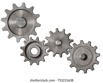metal gears and cogs cluster isolated 3d illustration
