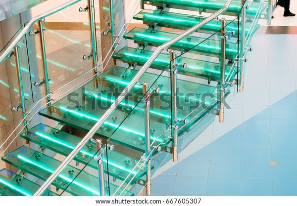 Metal glass staircase with neon, led backlight