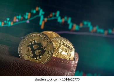 Metal golden bitcoins in brown leather wallet on digital data graph background symbolizes elements of virtual economy or crypto currency