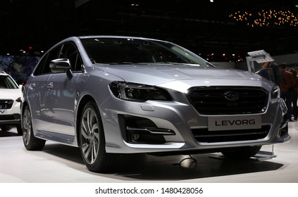 Metal Grey Subaru Levorg in Geneva International Motor Show (GIMS) in Geneva Switzerland March 2019. Subaru offers great cars for outdoors and wilderness. This one is a station / sport wagon car.