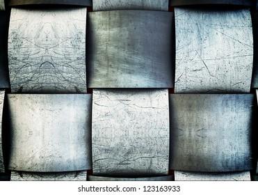 Metal grid vintage background with solid steel texture