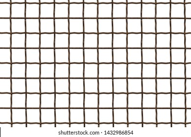 Metal grille. Wire fence isolated on white background. Steel, iron, metal mesh on a white background, a square cell.