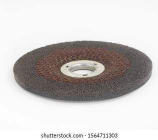 Metal grinding disc isolated on white